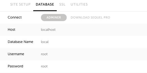 データベース名などは、Local by FlywheelのDATABASE下に書かれている。