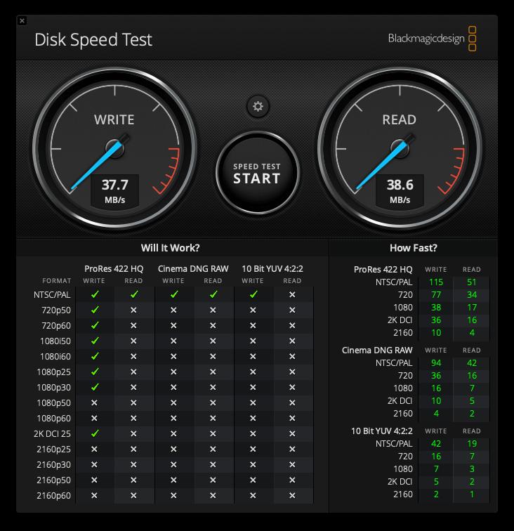BUFFALO_HDDベンチマーク(Blackmagic Disk Speed Test)