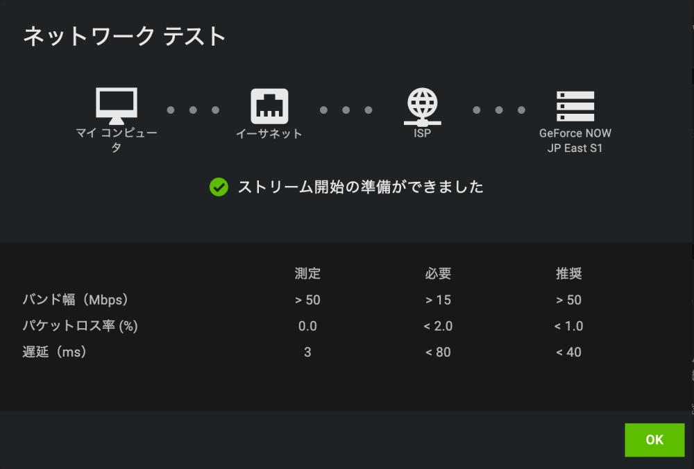 GeForce Now回線速度測定